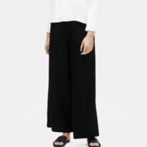 Eileen Fisher Lightweight Washable Stretch Crepe Small Black Wide Leg Pants